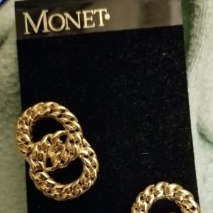Monet Vintage Double Circle  Clip On Earrings new